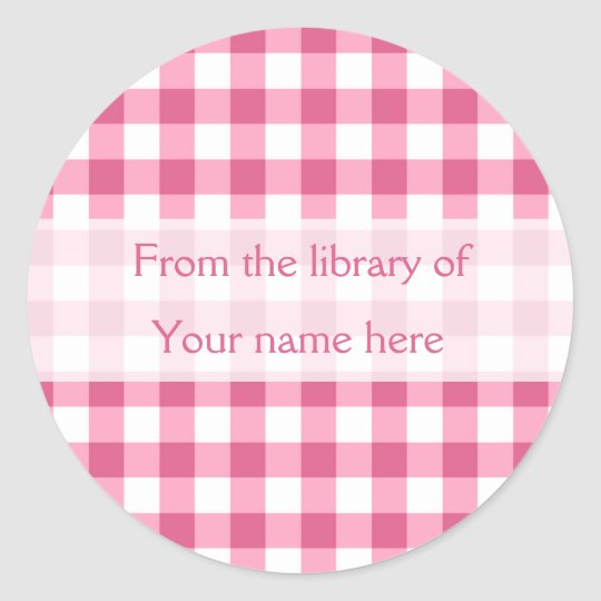 Pink Gingham From The Library of Bookplates Classic Round Sticker