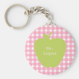 Pink Gingham & Green Apple Teacher Basic Round Button Keychain