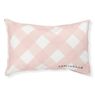 Pink Gingham Indoor Dog Bed Small Personalized