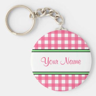 Pink Gingham Keychain