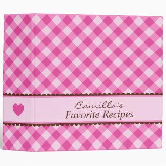 Pink gingham kitchen cooking recipe organizer binders