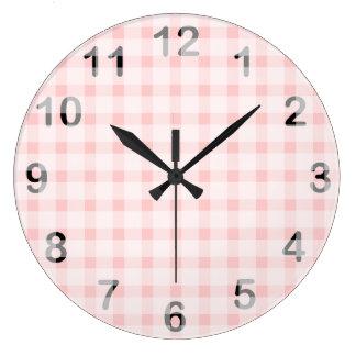 Pink Gingham Large Clock