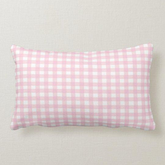 Pink Gingham Lumbar Pillow