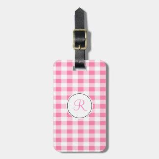 Pink Gingham Monogram Luggage Tag