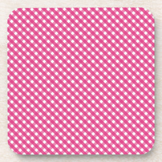 Pink Gingham Patterned Coaster