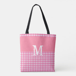 Pink Gingham Personalized Tote Bag