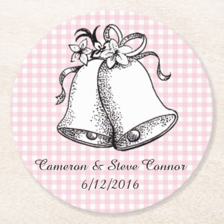 Pink Gingham Personalized Wedding Bell Coasters