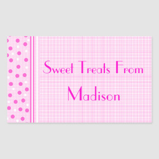 Pink Gingham & Polka Dots Sweets Sticker
