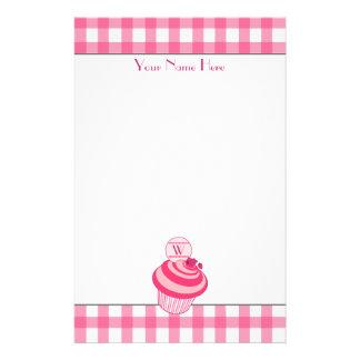 Pink Gingham / Raspberry Cupcake Stationery