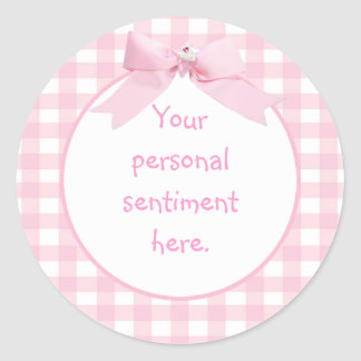 Pink Gingham Round Sticker