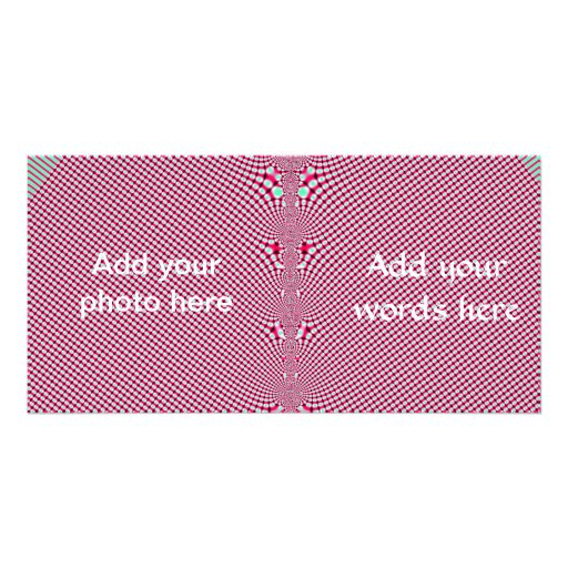 Pink Gingham Shirt Fractal Personalized Photo Card