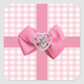 Pink Gingham Square Sticker