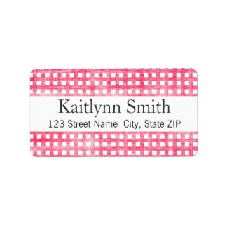 Pink Gingham Textured Label