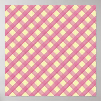 Pink Gingham Vintage Pattern Print