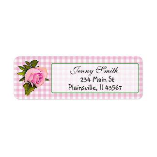 Pink Gingham Vintage Rose Return Address Label