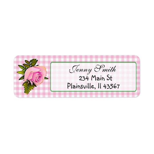 Pink Gingham Vintage Rose Return Address Label