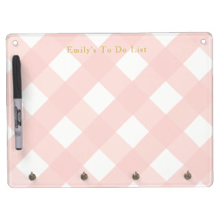 Pink Gingham Whiteboard with Key Holders