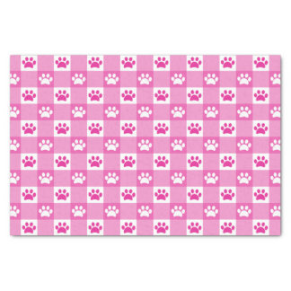 Pink Gingham with Paws Tissue Paper