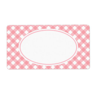 Pink GinghamLabels Shipping Label