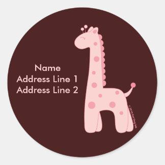 Pink Giraffe Address Label