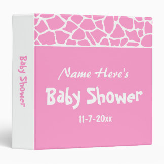 Pink Giraffe Baby Shower Binders