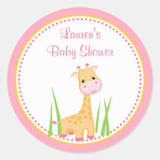 Pink Giraffe Baby Shower Favor Tag Sticker