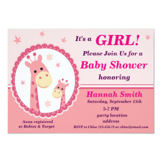 Pink giraffe baby shower invitation