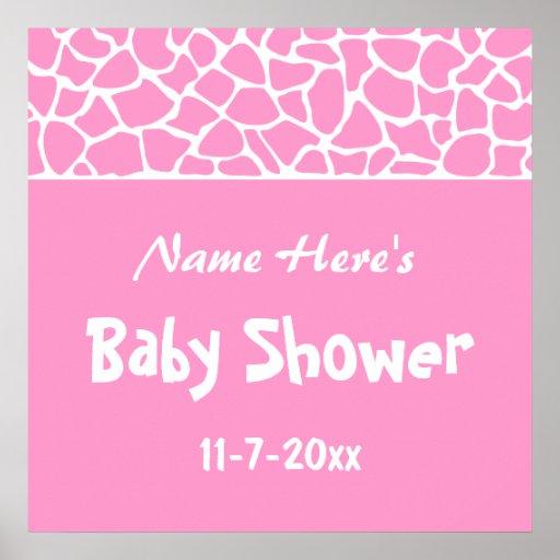 Pink Giraffe Baby Shower Print