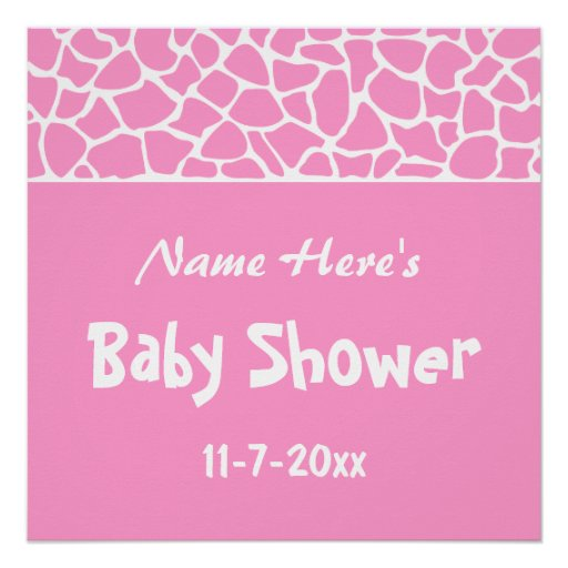 Pink Giraffe Baby Shower Perfect Poster