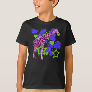 Pink Giraffe Blue Green Stars Hearts T-Shirt