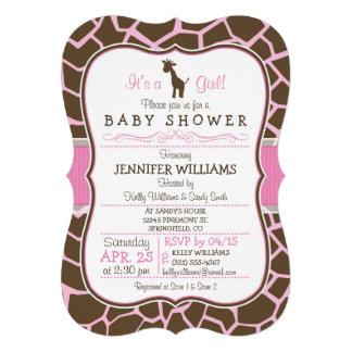 Pink Giraffe Girl Baby Shower Invitation