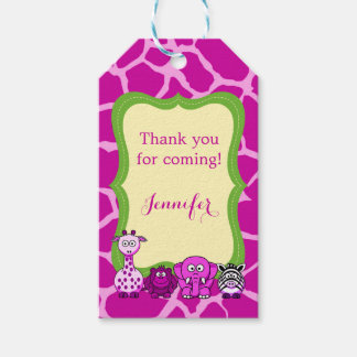 Pink giraffe jungle safari animal girl gift tags