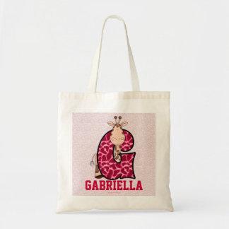 "Pink Giraffe Kids Monogram ""G"" Tote Bag"