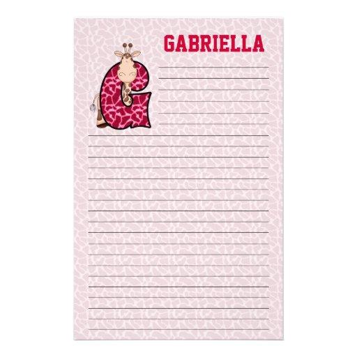 "Pink Giraffe Mongrammed ""G"" Lined Stationery"