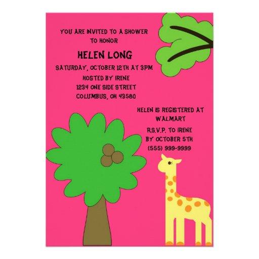 Pink Giraffe Paradise Invitation