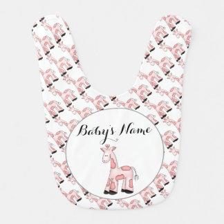 Pink Giraffe Personalized Baby Bib
