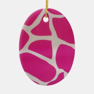 Pink Giraffe Print Ceramic Ornament