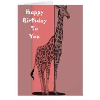 Pink Giraffe Sketch Card