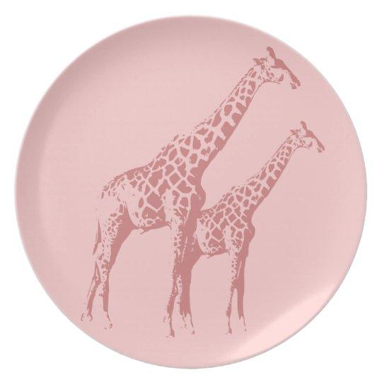 Pink Giraffe Sketch Plate