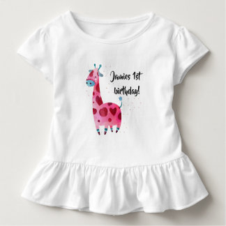 Pink giraffe themed birthday party outfit design toddler t-shirt