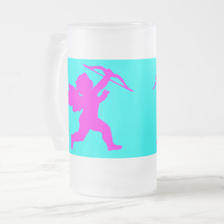 Pink Girl Angel Frosted 16 oz Frosted Glass Mug