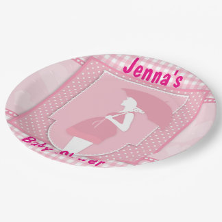 Pink Girl Baby Shower Pregnany Mom Paper Plates