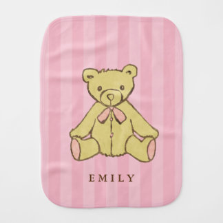 Pink Girl Bear Personalized Burp Cloth