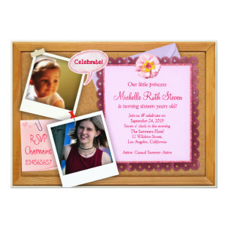 Pink Girl Corkboard Creative Birthday Invitation