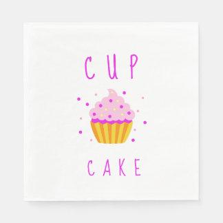 Pink Girl Cupcake Baby Shower Cartoon Napkin