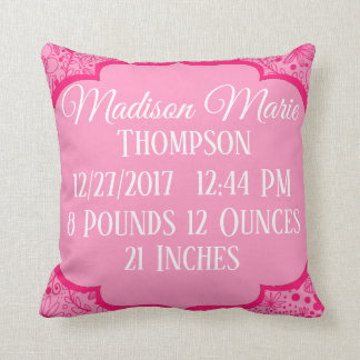 Pink Girl Doodle Flower Floral Birth Statistics Throw Pillow