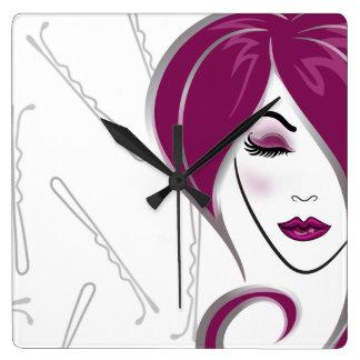 Pink girl hair- Salon clock