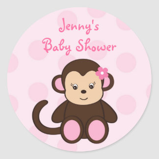 Pink Girl Monkey Shower Stickers Envelope Seals