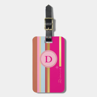 pink girl monogram travel personalized luggage tag