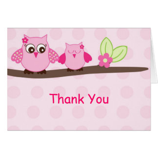 Pink Girl Owl Thank You Note Cards